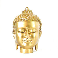 golden buddha head sculpture, buddha statue, buddhas, metallic gold, modern home accessories