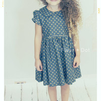 The Good Golly Peter Pan Collar Dress in Navy with Grass Green Dots from the Fleur and Dot Autumn Winter 13 Collection