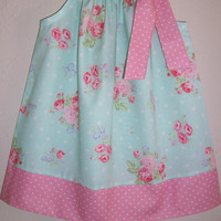 Pillowcase Dress Girls Dress with Roses Floral dress Aqua and Pink Dots Spring dress for Wedding baby dress toddler dress with Flowers