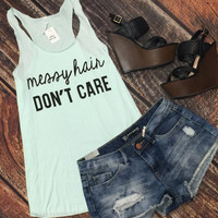 Messy Hair Tank: Mint