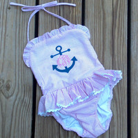 Boutique Personalized Monogrammed One Piece Bathing Suit Swimsuit in Pink Seersucker