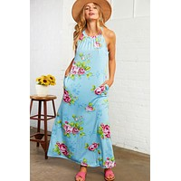 Floral Print Sleeveless Haltered Maxi Dress with Pockets