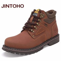 Big Size Men Ankle Boots / Genuine Leather Men Work & Safety Boots