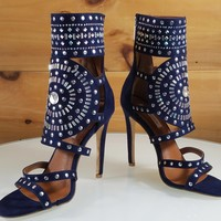 "CR Blair Navy Blue Rhinestone & Stud Design 4.5"" High Heel Shoes"