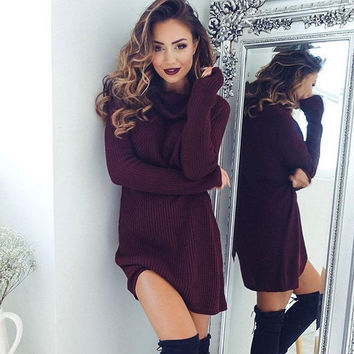 Wine Red Turtleneck Sweaters Dress + Free Gift Summer Necklace