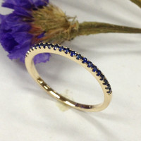 Sapphire Wedding Band Half Eternity Anniversary Ring 14K Yellow Gold - Thin Design