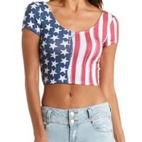 AMERICAN FLAG PRINT CROP TOP