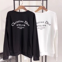 Dior All-match Couple Casual Simple Print Pattern Letter Round Neck Long Sleeve Cotton Sweater