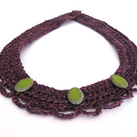 violet crocheted necklace with green beads. Silk and mercerised cotton collar.