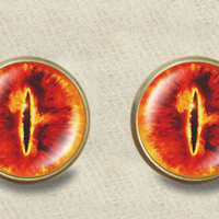 """Inspired by The Lord Of the Rings """"Eye of Sauron"""" stud post earrings Lord of the Rings stud post earrings"""