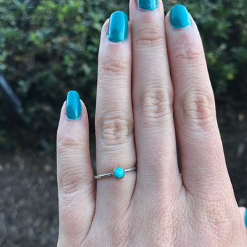 Rose-Cut Turquoise Stacking Ring - Ready to Ship - Size 4.5