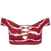 Shiloh Lattice Front Wrap Bikini Top - Maroon Tie Dye