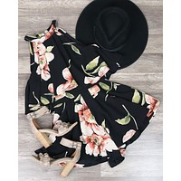 Dance All Night Floral Halter Romper in Black