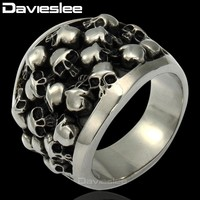 Davieslee Men's Ring Punk Gothic Horror Skulls 316L Stainless Steel Ring for Men DLHR31