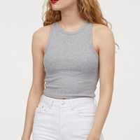 Ribbed Tank Top - Gray melange - | H&M US
