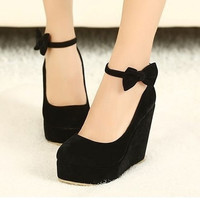 Sweet bowknot shoes,Women's sexy wedge heel shoes,bowknot shoes,fashion shoes = 1932281924