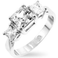 Princess Cut Triplet Anniversary Ring, size : 08