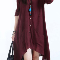 Long Sleeve Button Down Asymmetric Hem Midi Dress