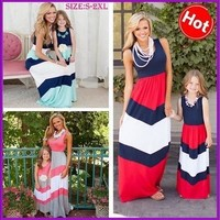 Mommy and Me Matching Dresses 2016 Summer Mother and Daughter Matching Cotton Striped Outfits Chervon Dress Family Matching Clothes [9305606791]