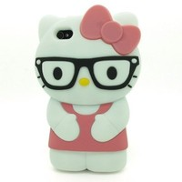 FJX 3D Cartoon Lovely Soft Silicone Black Glasses Hello Kitty Case Protector Skin for Apple iPhone 4 4S 4G (Dark Pink)
