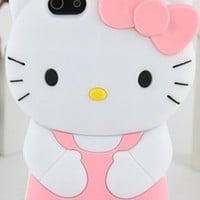 Pink White Black Yellow Hello Kitty Hair Bow Silicon Rubber Phone Case Cover