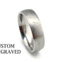 6mm Engraved Stainless Steel Silver Ring - 6mm Personalized Steel Ring -Stainless Steel Men Women Ring - Custom Engraved Silver Steel Ring