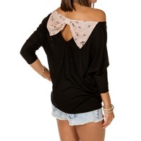 Black/Taupe Anchor Bow Back Top