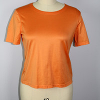 Brooks Brothers Orange Top Womens Blouse Med Performance Knit