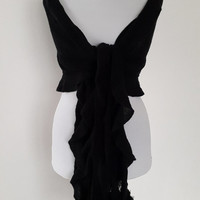 BİG SALE, black, scarf, macine knitted, Free Shipping, Knitted scarf,  handmade pom pom,  Frilly scarf