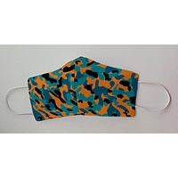 School Color Camo Aqua, Orange and Marine Blue Face Decorative Face Mask