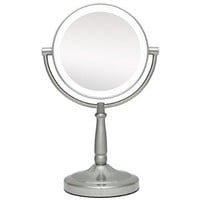 Zadro 5x Mag Next Generation LED Cordless Double Sided Round Vanity Mirror, 7-Inch, Satin Nickel Finish