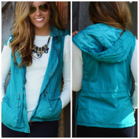 Bear Hug Turquoise Hooded Faux Fur Lined Vest