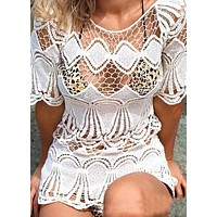 HOT LACE SMOCK TOP SHORT DRESS