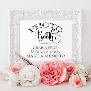 Photo Booth Sign - 8x10 sign - DIY Printable sign in 'Bella' black - PDF and JPG files - Instant Download