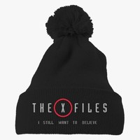 The X Files I Still Want To Believe  Embroidered Knit Pom Cap