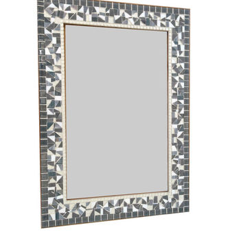 Silver, Gray, White Decorative Wall Mirror, Mosaic Mirror, Wall Decor, Large Bathroom Mirror
