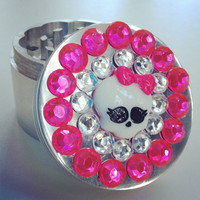 Pink Skull Jeweled Herb Grinder by SmokingGirlCouture on Etsy