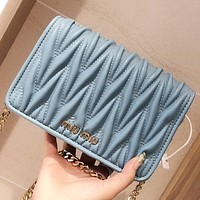 Miu Miu New fashion leather chain shoulder bag crossbody bag Blue