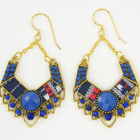 Tribal Hoop Earrings, Blue African Kente Cloth Fabric Long Navy Gold Dangle Ethnic Earrings