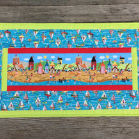 Quilted Beach Table Runner, Summer Decor, Reversible