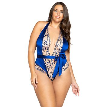 Sexy One More Thing Plus Size Embroidery Plunge Satin Tie Teddy