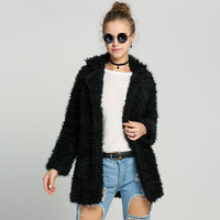 2015 new fashion winter faux fur coat long sleeve Turn-down collar long style Thick and warm casual Wool coat S-XL 3 colors