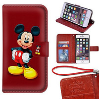 iPhone 6 Plus Wallet Case[5.5 inch], Onelee - Mickey Mouse Premium PU Leather Case Wallet Flip Stand Case Cover for iPhone 6 Plus with Card Slots
