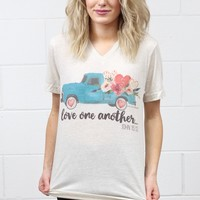 Love One Another Floral Vintage Truck V-neck Tee {Oatmeal}