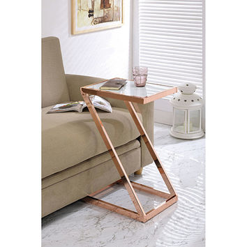 Modish Side Table, Frosted Glass & Copper
