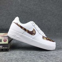 NIKE X LV Women Men Running Sport Casual Shoes Sneakers Air force White Coffee I-CSXY