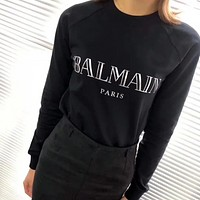 BALMAIN Women Fashion Letter Pullover Sweater Black