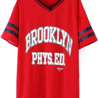Brooklyn PHYS. EDU Graphic Print V-Neckline Red Shirt