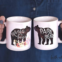 Mama & Papa Bear Mug Set | Pregnancy Reveal Mugs | Mother's Day Gift | Father's Day Gift | 11 or 15 oz mugs | New Parent | Baby Shower Gift