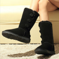 Fashion simple three buckle Gaotong snow boots women boots Black